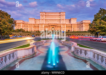Bucharest, Romania. The Palace of the Parliament at sunrise. - Stock Photo