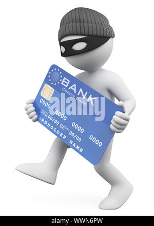 3d white people illustration. Thief stealing a credit card. Isolated white background. - Stock Photo