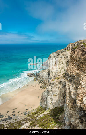 Stunning coastal scenery between Porthtowan Beach and Chapel Porth on the St Agnes Heritage coast in Cornwall, England, UK. - Stock Photo
