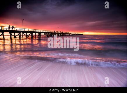Beautiful Sunset at Semaphore Beach, South Australia - Stock Photo