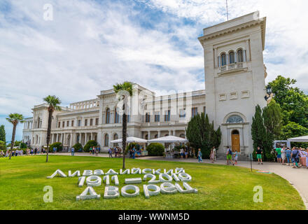 Livadia, Crimea - July 10. 2019. Livadia Palace - former southern residence of Russian emperors - Stock Photo