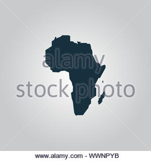 Africa Map - Vector icon isolated - Stock Photo