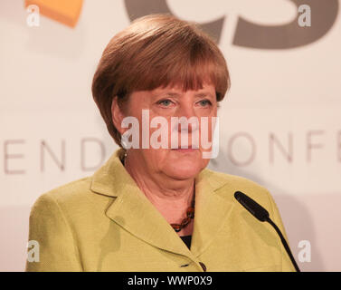 Bundeskanzlerin Dr. Angela Merkel (CDU,MdB) bei CDU/CSU-Fraktionsvorsitzendenkonferenz in Magdeburg - Stock Photo