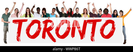 Toronto multicultural group young people people people keep shield - Stock Photo