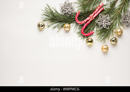 christmas tree branches, business cards, pine cones, flat lay, fir tree, merry christmas, branches cones, rose hips - Stock Photo