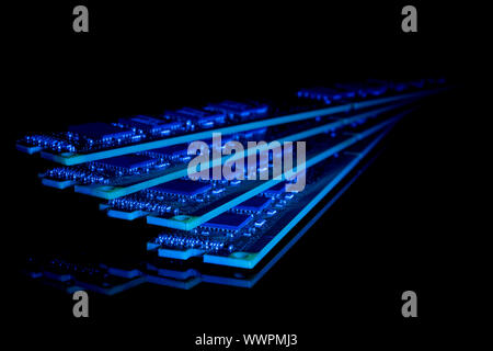 Electronic collection - computer random access memory (RAM) modules - Stock Photo