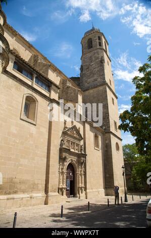 side door of el salvador church at ubeda city in spain - Stock Photo