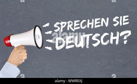 speak german language learn languages school foreign language Megafon - Stock Photo