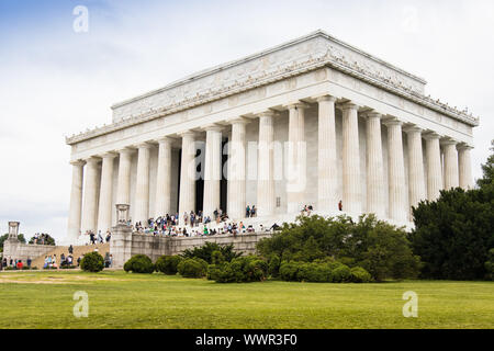 Washington DC, USA - June 7th 2019: Lincoln Memorial building with tourist in stairs - Stock Photo