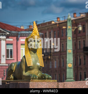 Sphinx of Egyptian bridge over the Fontanka river, Saint Petersburg, Russia - Stock Photo