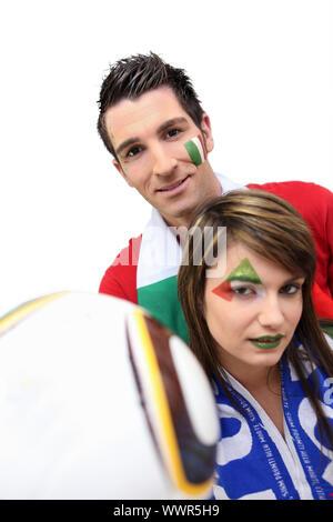 Fans of Italian soccer team - Stock Photo