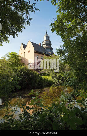castle Dyckhof with water ditch, Meerbusch, Lower Rhine, North Rhine-Westphalia, Germany, Europe - Stock Photo