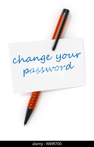 business card a ball pen and the text change your password - Stock Photo