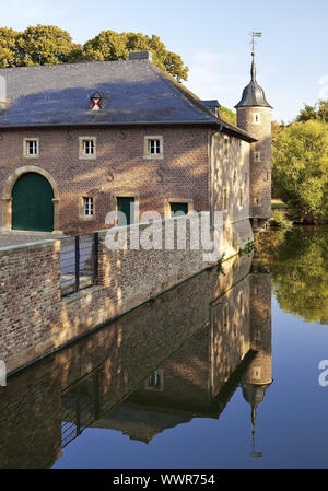 moated castle Burgau, Dueren, North Rhine-Westphalia, Germany, Europe - Stock Photo