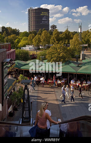 people at shopping CentrO with Gasometer, Oberhausen, North Rhine-Westphalia, Germany, Europe - Stock Photo