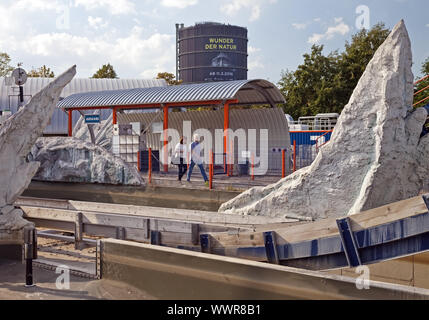 people at the Centro park with Gasometer, Oberhausen, North Rhine-Westphalia, Germany, Europe - Stock Photo