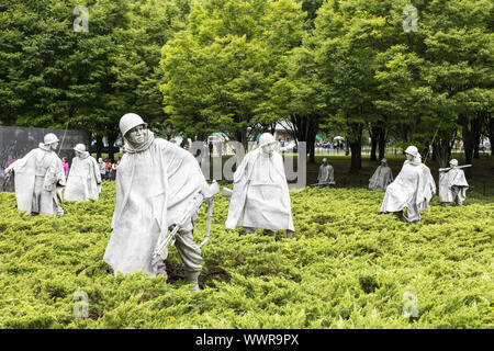 Washington DC, USA - June 7th 2019: Korean War Veterans Memorial located in National Mall. The Memorial commemorates those who served in the Korean Wa - Stock Photo