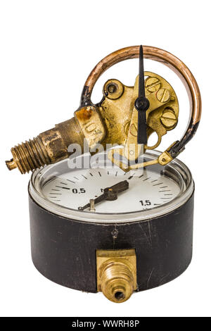 Pressure gauge mechanism in disassembled form, isolated on white background - Stock Photo