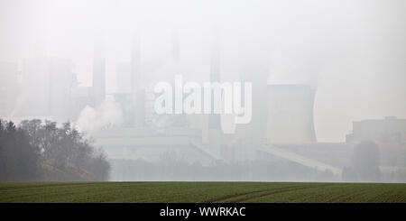 brown coal-fired power plant Neurath in mist, Grevenbroich, North Rhine-Westphalia, Germany, Europe - Stock Photo