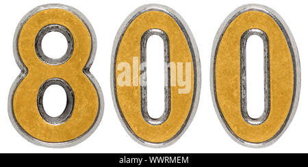 Metal numeral 800, eight hundred, isolated on white background - Stock Photo