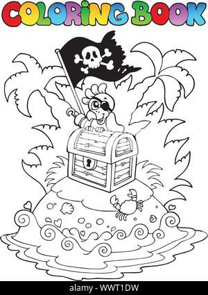 Coloring book with pirate topic 3 - Stock Photo