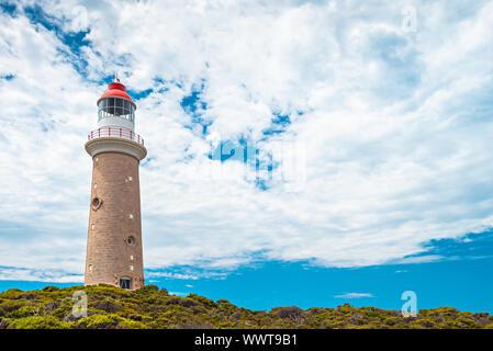 Cape Du Couedic lighthouse under beautiful sky on a day, Kangaroo Island, South Australia - Stock Photo