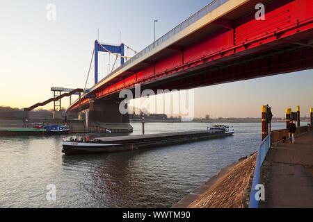 brigde Friedrich-Ebert-Bruecke over the river Rhine, Duisburg, Ruhr Area, Germany, Europe - Stock Photo