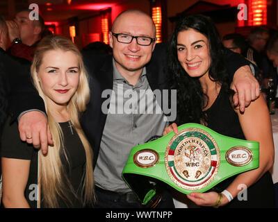 Boxer Fabiana Bytyqi,Coach Lukas Konecny and Boxer Lucie Sedlackova (Team Czech Republik) - Stock Photo
