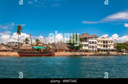 Lamu old town waterfront, Kenya, UNESCO World Heritage site - Stock Photo