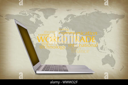 concept of international trade, notebook, words, background - Stock Photo