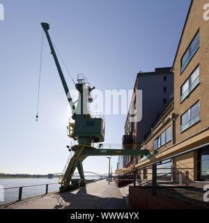 crane at Laura-Oelbermann-Promenade, Cologne, Rhineland, North Rhine-Westphalia, Germany, Europe - Stock Photo