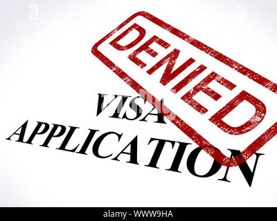 Visa Application Denied Stamp Showing Entry Admission Refused - Stock Photo