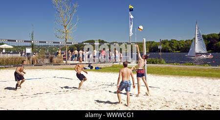beach volleyball, Seaside Beach Baldeney, Essen, Ruhr Area, North Rhine-Westphalia, Germany, Europe - Stock Photo