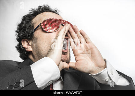 Shoutout, Businessman with red glasses screaming nervously and anxious for money - Stock Photo