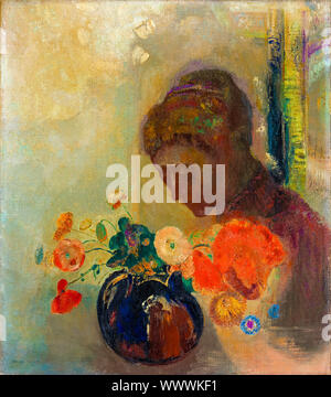 Odilon Redon, Woman with a Vase of Flowers, painting, 1903 - Stock Photo