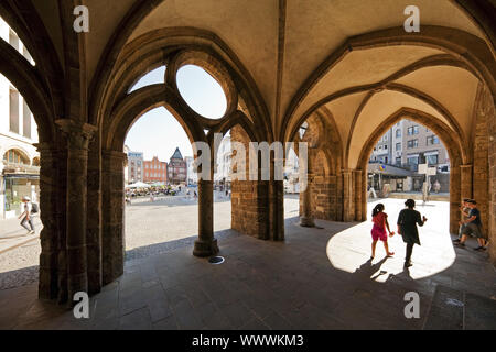 Old Town-Hall, stony arcade with view to the market, Minden, North Rhine-Westphalia, Germany, Europe - Stock Photo
