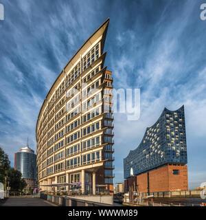 The Hafen City quarter and Elbe Philharmonic Hall in Hamburg, Germany - Stock Photo