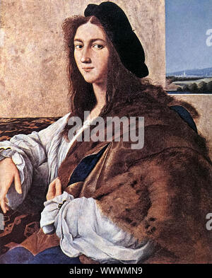 Raphael, Portrait of a Young Man, (missing after 1939), portrait painting, 1514-1515 - Stock Photo