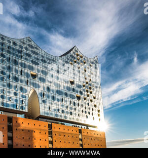The Elbe Philharmonic Hall or Elbphilharmonie, concert hall in the Hafen City quarter of Hamburg, Germany - Stock Photo
