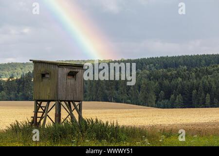 Harz landscape photo with rainbow - Stock Photo