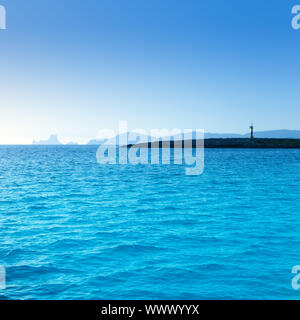 Espalmador in formentera island with Gastabi islet and Ibiza Es Vedra in background - Stock Photo