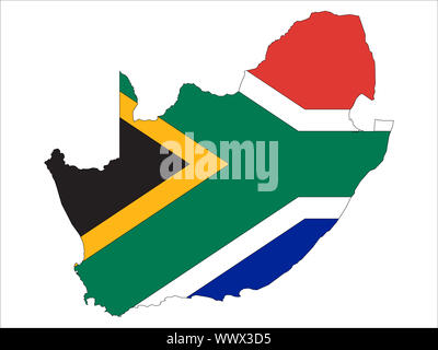 South Africa map with flag vector- Flag map. Great for presentations or backgrounds. - Stock Photo