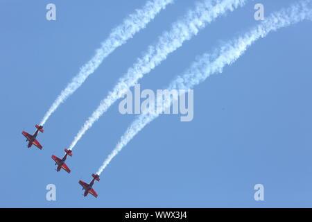 Hechtel, Belgium. 15th Sep, 2019. The Wings of Storm aerobatic team of the Croatian Air Force performs at the International Sanicole Airshow in Hechtel, Belgium, Sept. 15, 2019. Credit: Wang Xiaojun/Xinhua/Alamy Live News - Stock Photo