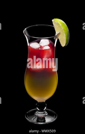The two colored Bay Breeze cocktail over black - Stock Photo
