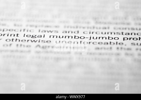The words 'Legal mumbo-jumbo' accentuated in a printed document. - Stock Photo