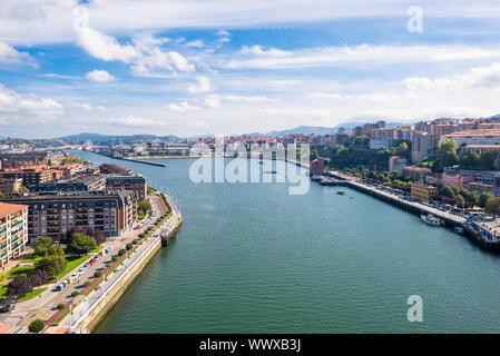 On top of the Vizcaya Bridge between Las Arenas and Portugalete - Stock Photo