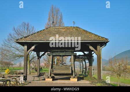 historical Wine Press in Vineyard of Edenkoben,Palatinate,Germany - Stock Photo
