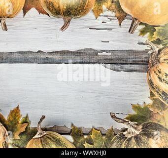 Frame of pumpkins and autumn leaves. Thanksgiving Day - Stock Photo