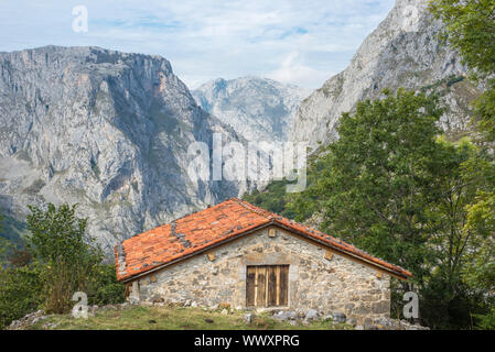 The famous mountains Los Picos de Europa in the north of Spain - Stock Photo
