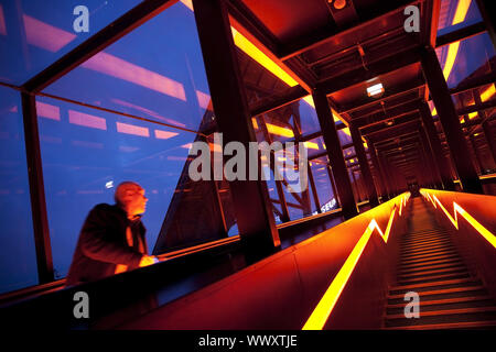 illuminated stairways, Zeche Zollverein, Essen, Ruhr Area, North Rhine-Westphalia, Germany, Europe - Stock Photo